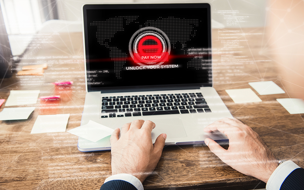 Laptop computer with the system being locked by ransomware
